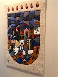 Wall tapestry menorah signed by artist and brought back from Israel .