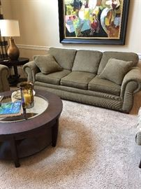 Matching sofa and loveseat. Great neutral color and looks brand new.