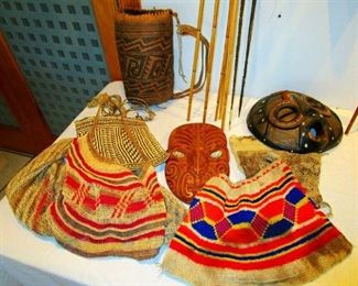 Hand woven fiber bags and baskets from New Guinea