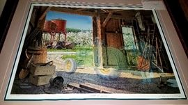 """Please save the date and plan on attending """"Saturday Only"""" Estate/Family Sale this Saturday,  April 20th. Featuring this sale 8 more Charles Peterson Collector's Edition """"Ghost"""" framed prints. """"Talk of Spring"""" 1254/2500 w/ vintage John Deere tractor in barn."""