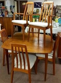 Much furniture!! Benny Linden Design Danish Modern dining room table w/6 chairs. Also has matching companion pieces!!