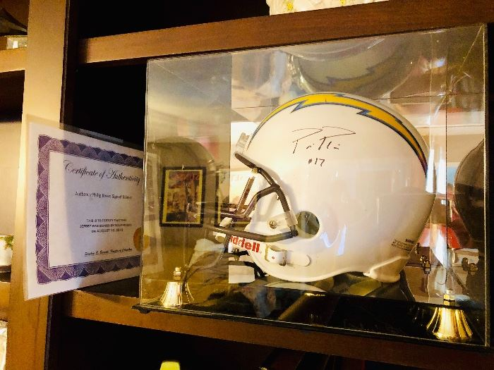 Phillip Rivers signed full size Chargers helmet with COA and case