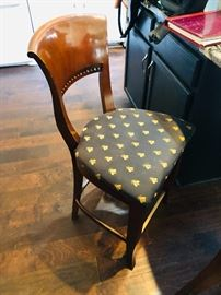 4 matching bar chairs - navy and gold/yellowish