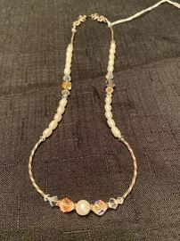 Sterling silver necklace with fresh water pearls and crystals