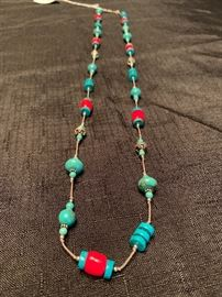 Sterling silver necklace with turquoise and coral.