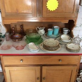 DEPRESSION GLASS AND OTHER ASSORTED DISHES