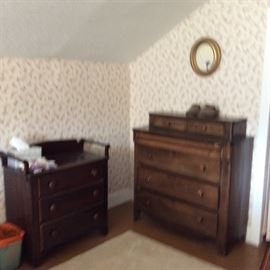 EARLY 3 DRAWER CHEST & EARLY CHEST OF DRAWERS
