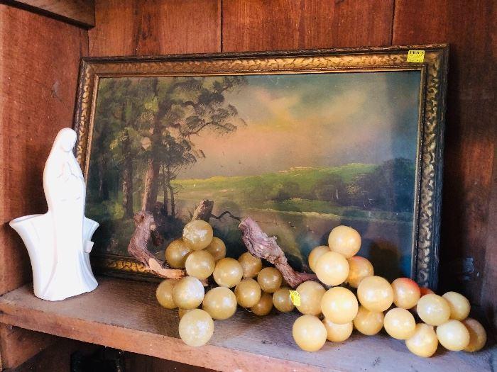 Alabaster grapes, Virgin Mary planter, old framed print
