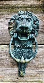 Verdi green cast iron lion door knocker