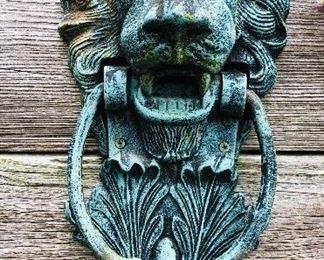 Verdi green cast iron lion door knocker