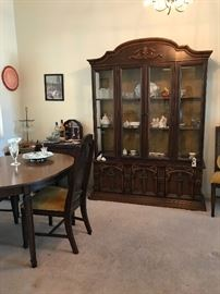 dining room set with hutch, precious moments, tea cups etc