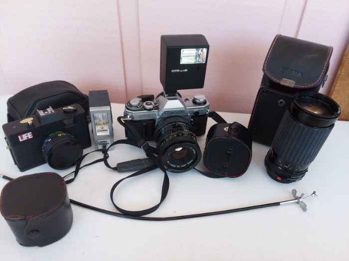 LIFE camera, Canon AE-1, 200 zoom lens,lens cases