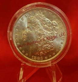 7 - 1883-O US Silver Morgan Dollar Uncirculated