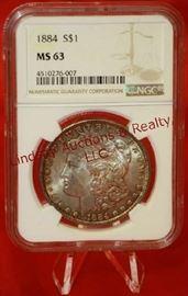 10 - 1884 US Silver Morgan Dollar Graded MS63