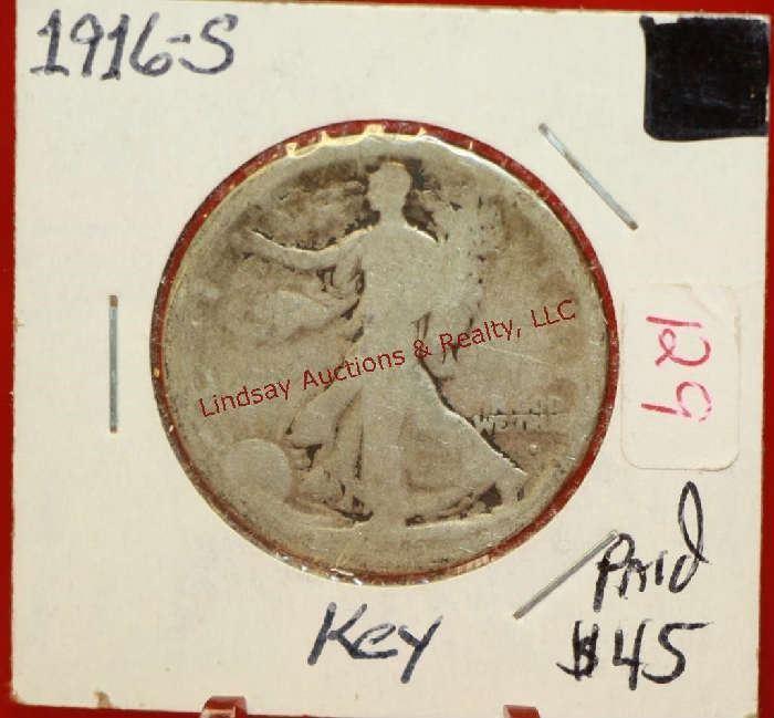 16 - 1916-S Walking Liberty Half Dollar Coin Key Date