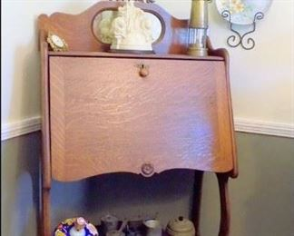 Larkin Desk with Welsh Miners' Lamp, Tin Top, Miniature Stove