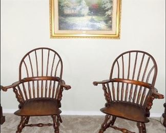 """Windsor Chairs and a Limited Edition Thomas Kinkade print """"Hometown Chapel"""""""