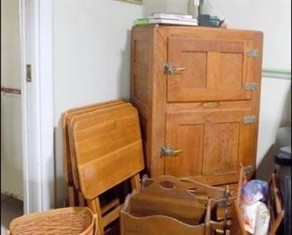 Illinois Ice Box, One of Several Longaberger Baskets, Stained Glass Lamp, etc.