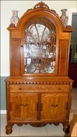 Berkey and Gay Oak China Cabinet filled with Old China and Crystal
