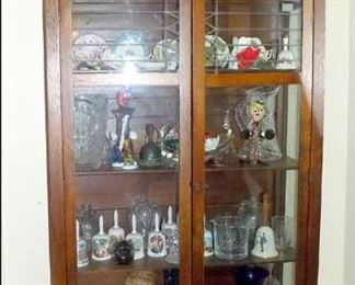Arts & Crafts Oak China Cabinet with Collectible Glassware and Bells.