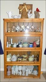 Oak Barrister Bookcase with Milk Glass, Biscuit Jars, etc.