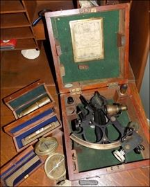 Antique Maritime Items. Spyglass, Level, Compass, and Sextant.