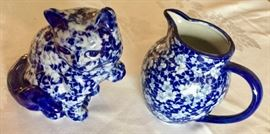 Blue and White Cat and Pitcher