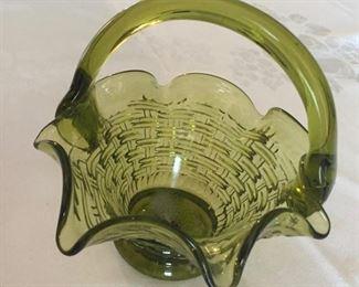 Green Depression Glass Basket