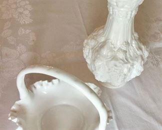 Milk Glass Basket and Vase