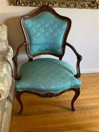 #2Green Wingback Chair w/ qa legs w/nailhead design $125.00