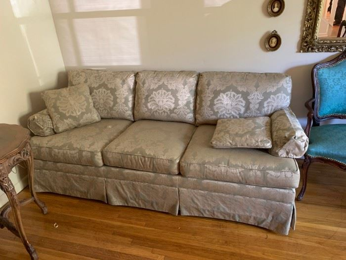 #3sofaEthan Allen Green Sage Sofa 7' $175.00