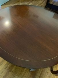 #1Round Coffee table w/cut out design 40x16 $125.00 #4Bernards Gold/Wood Carved Round Table   27x29  $200.00