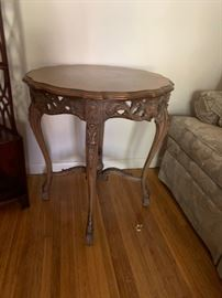 #4Bernards Gold/Wood Carved Round Table   27x29  $200.00