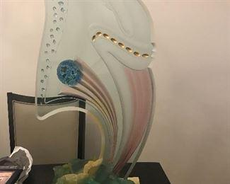 ART DECO LOOKING MASSIVE ART GLASS SCULPTURE