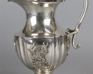 Chinese export silver dragon ewer, provenance: Saturday at Sotheby's: Asian Art (lot 1479, 9/15/2018 auction), 10.5in(H)