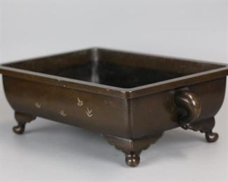 Japanese bronze censer inlaid w/ silver, possibly 19th c., 17in(L) x 10.5in(W)