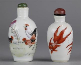 2 Chinese porcelain snuff bottles, possibly 19th c., taller (overall): 2.5in(H)