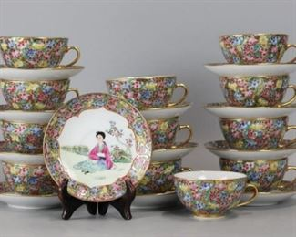 12 Chinese porcelain cups & saucers, possibly cultural revolution period, saucer: 5in(diameter)