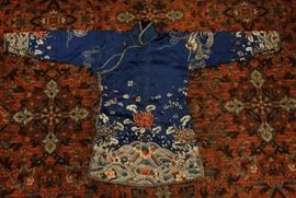 Chinese embroidered robe, possibly 19th/20th c., 49in(L) x 30in(H)