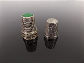 2 Antique .925 Sterling Silver Thimbles