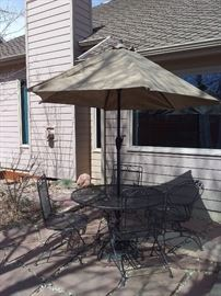 Wrought Iron Patio Set with Umbrella and Stand