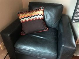 Leather Room and Board chair and Missoni accent pillow