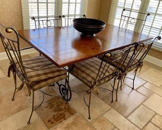 "23. Plank Top Dining Table on Metal Base (40"" x 66"" x 30"") 22. Metal Dining Chairs w/ Pads 2 Arm Chairs (18"" x 27"" x 40"") 4 Side Chairs (20"" x 21"" x 34"")"