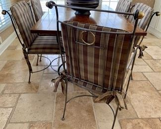 "22. Metal Dining Chairs w/ Pads 2 Arm Chairs (18"" x 27"" x 40"") 4 Side Chairs (20"" x 21"" x 34"")"