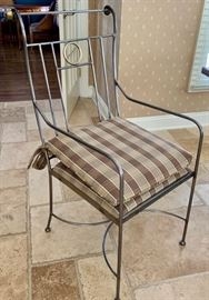"""22. Metal Dining Chairs w/ Pads 2 Arm Chairs (18"""" x 27"""" x 40"""") 4 Side Chairs (20"""" x 21"""" x 34"""")"""