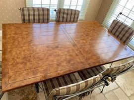 """23. Plank Top Dining Table on Metal Base (40"""" x 66"""" x 30"""") 22. Metal Dining Chairs w/ Pads 2 Arm Chairs (18"""" x 27"""" x 40"""") 4 Side Chairs (20"""" x 21"""" x 34"""")"""