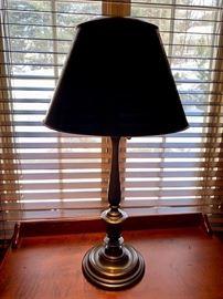 "33. Pair of Metal Candlestick Lamps w/ Metal Shade (28"")"