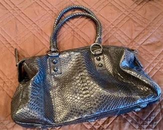 "43. Carlos Falchi Black Embossed Leather Bag (8"" x 6"")"
