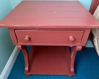 """82. Distresses Painted One Drawer Nightstand (25"""" x 23"""" x 27"""")"""