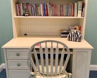 """86. Cream Computer Desk w/ Hutch (50"""" x 28"""" x 71"""") and Chair (18"""" x 16"""" x 38"""")"""